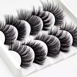 5 Pairs 3D Mink Hair False Eyelashes Black Natural